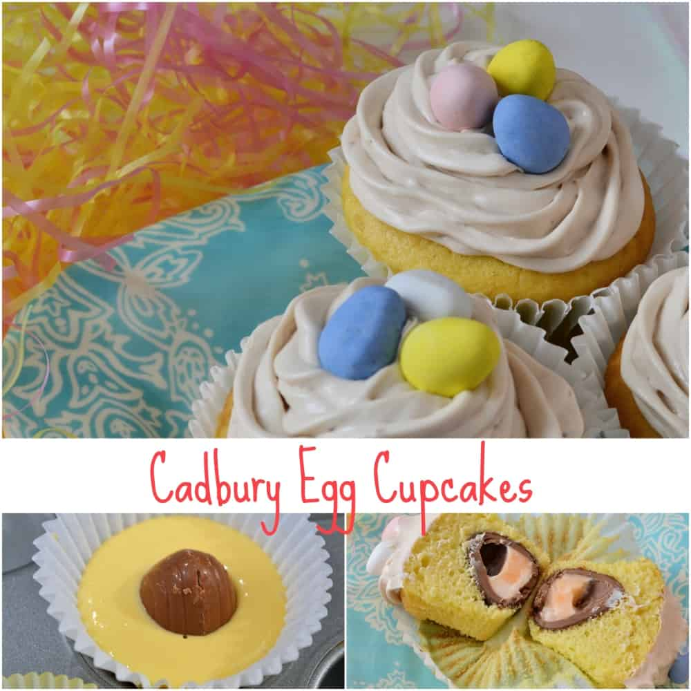 Cadbury Egg Cupcakes- where are my Cadbury Egg lovers at? Check out my jumbo cupcakes with a Cadbury Egg inside and crème whipped right into the frosting. The perfect Easter dessert! www.savoryexperiments.com
