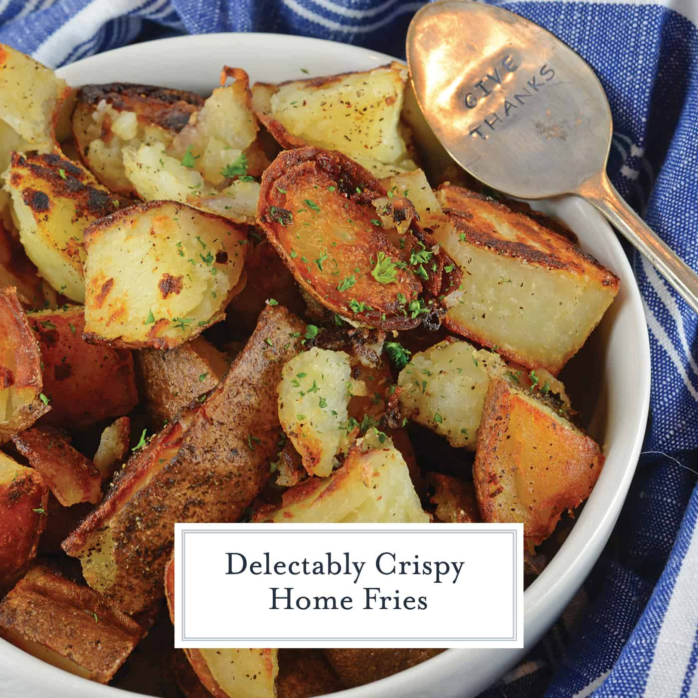 Make Crispy Home Fries like at the restaurant right at home! My recipe is super crispy, and has a secret ingredient that makes them the best potatoes ever! #breakfastpotatoes #howtomakehomefries #potatorecipes www.savoryexperiments.com