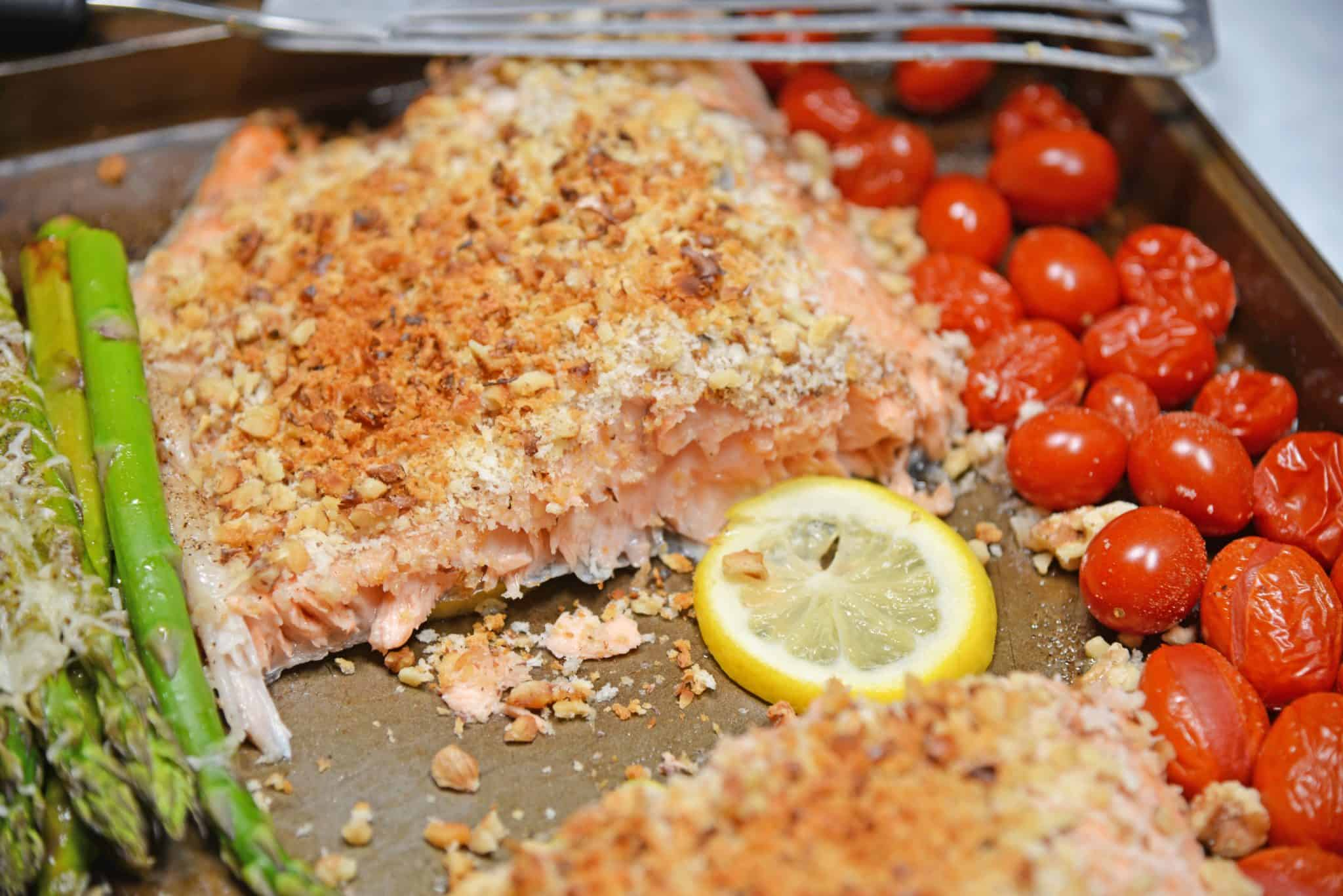 Sheet Pan Crispy Salmon on a tray