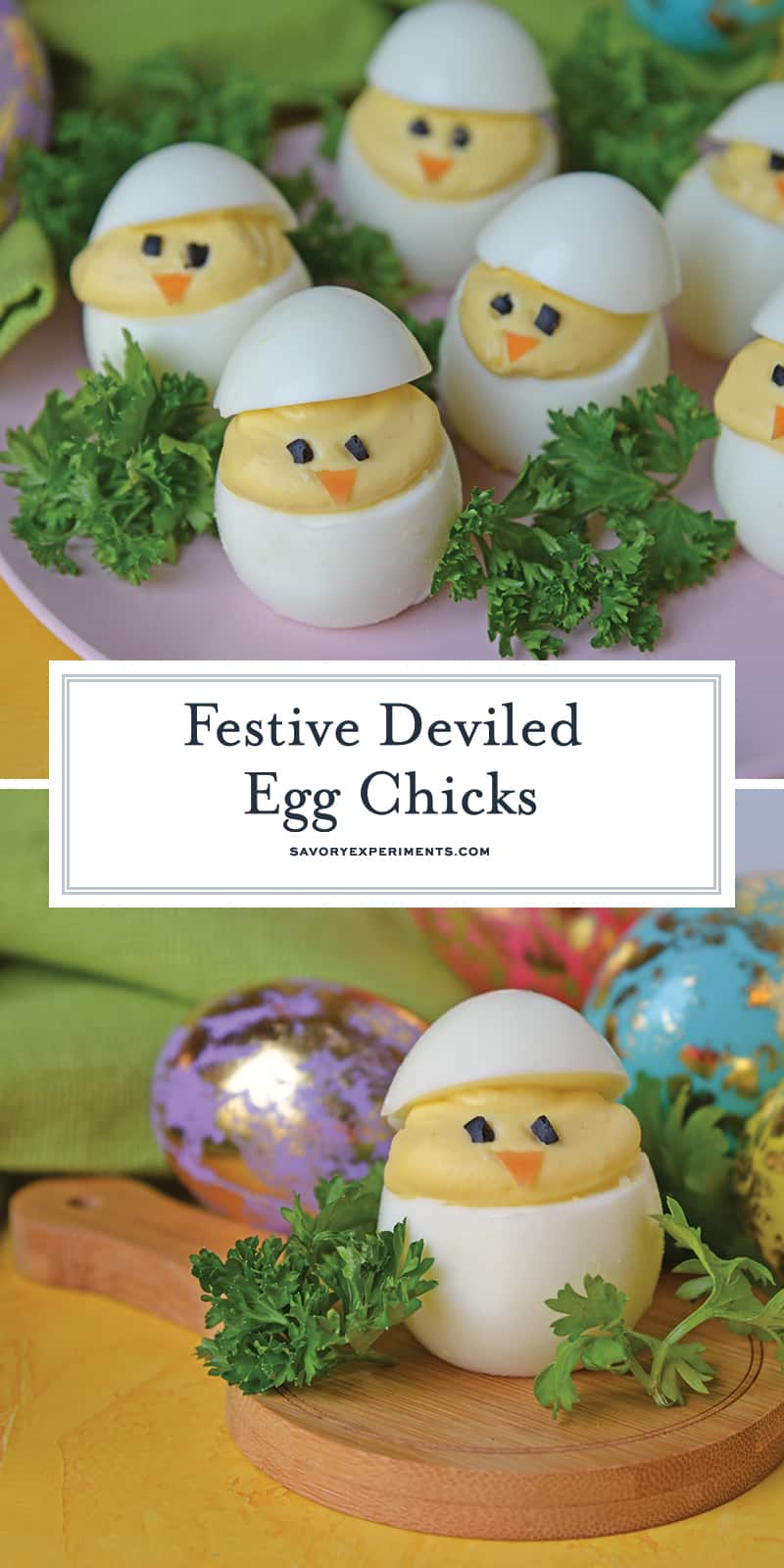 Deviled Egg Chicks take a classic deviled egg recipe and make them into Easter deviled eggs! Perfect as an Easter brunch recipe or appetizer. #deviledeggchicks #easterdeviledeggs www.savoryexperiments.com