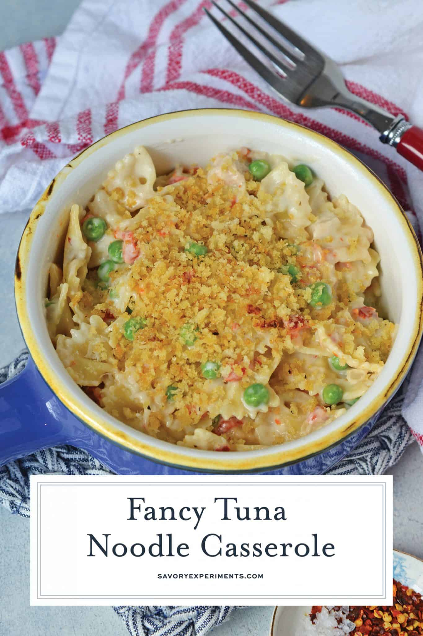Fancy Tuna Noodle Casserole comes packed with bow tie pasta, seasoned panko, fresh vegetables and sun dried tomatoes! #tunanoodlecasserolerecipe #easytunanoodlecasserole www.savoryexperiments.com