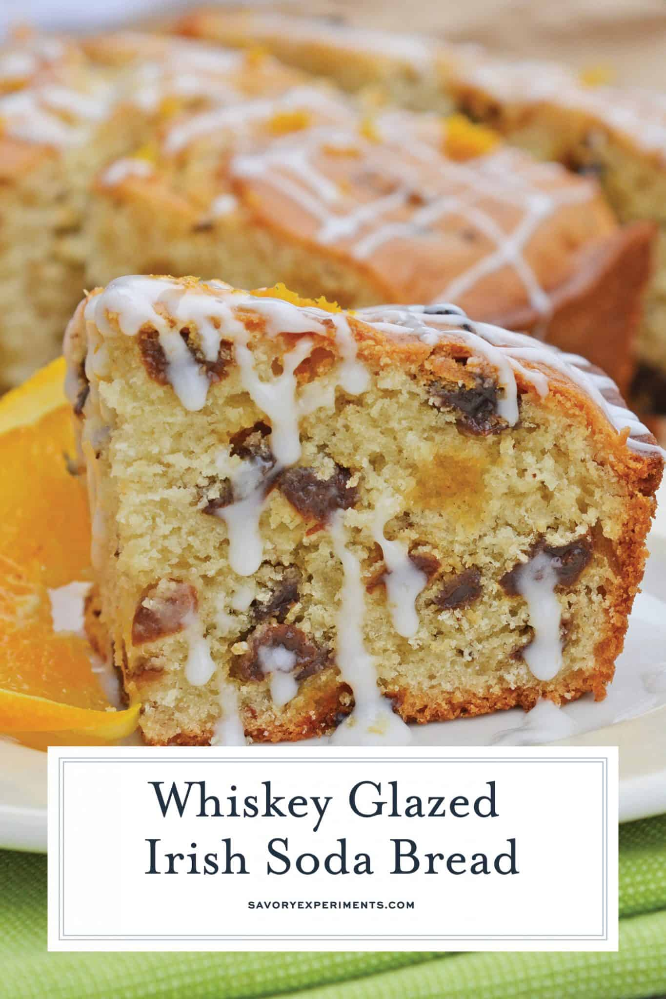 This Irish Soda Bread with Whiskey Glaze recipe is Irish food at its best! It consists of whiskey, caraway seeds, currants, and fresh orange juice and zest! #irishsodabreadrecipe #irishsodabreadhistory www.savoryexperiments.com