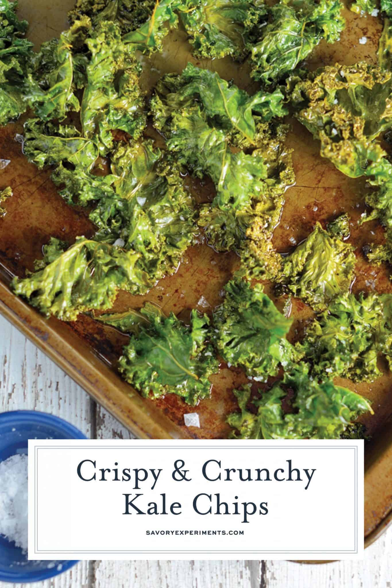 All you need for this Kale Chips recipe is kale leaves, olive oil, and sea salt! A tasty, easy, and healthy alternative to potato chips! #kalechipsrecipe #bakedkalechips www.savoryexperiments.com