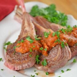 Romesco sauce on a lamb chops