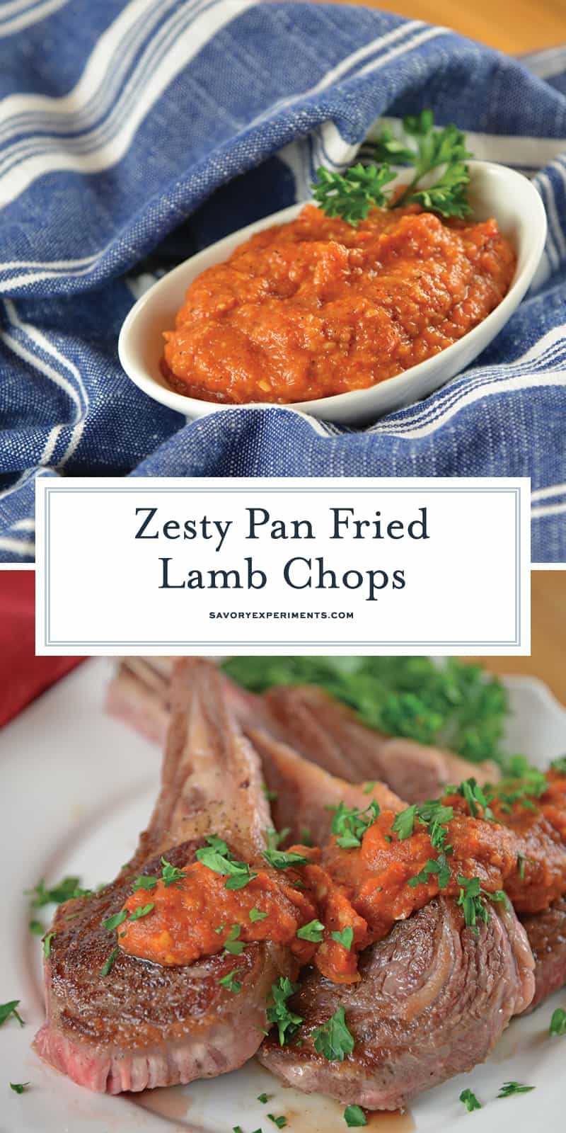 Pan Fried Lamb Chops, are one of the easiest dinners to make! This is a easy lamb recipe to serve for Easter dinner or any other night of the year! #panfriedlampchops #lambchopsrecipe #lamblollipops savoryexperiments.com