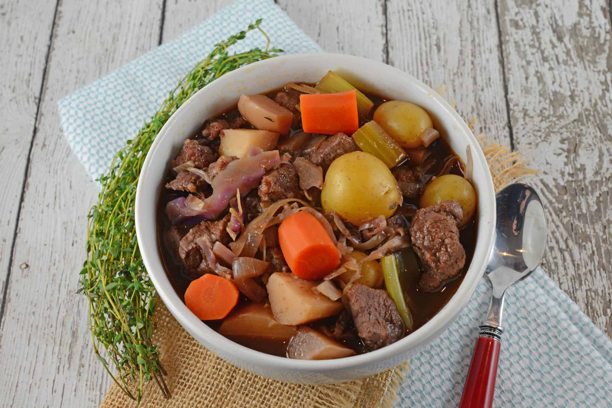 Beef Stew is one of the world's best comfort foods, but Red Wine Beef Stew filled with vegetables and a savory broth, feels like your dinner is giving you a hug!