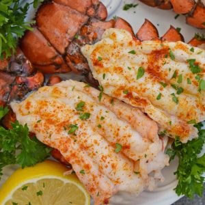Overhead Close Up of Broiled Lobster Tails