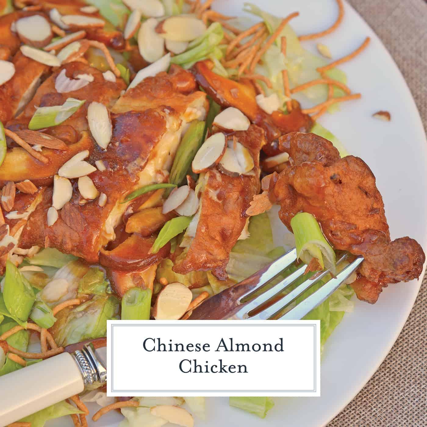 Chinese Almond Chicken, aka Detroit Almond Chicken, ABC Chicken or Almond Boneless Chicken, is a dish with fried chicken and mushroom gravy served over iceberg lettuce. #almondchicken #almondbonelesschicken www.savoryexperiments.com