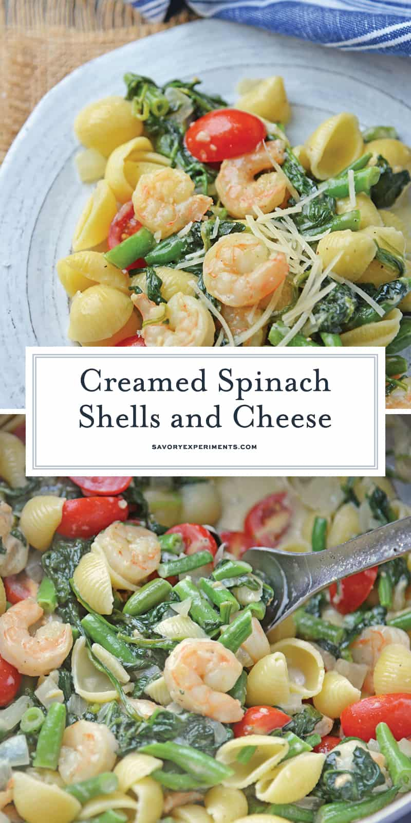 Creamed Spinach Shells and Cheese uses creamed spinach as a sauce for an amazingly quick pasta dish, that you won't be able to get enough of! #spinachcreamsauce #creamedspinachrecipes www.savoryexperiments.com