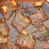 Honey Ginger Short Ribs in a white Dutch oven