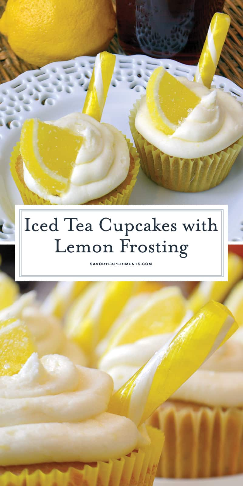 Iced Tea Cupcakes with Lemon Frosting is a cupcake recipe made from iced tea lemonade! These cute cupcakes are perfect for summer BBQs and parties! #lemoncupcakes #icedteacupcakes www.savoryexperiments.com