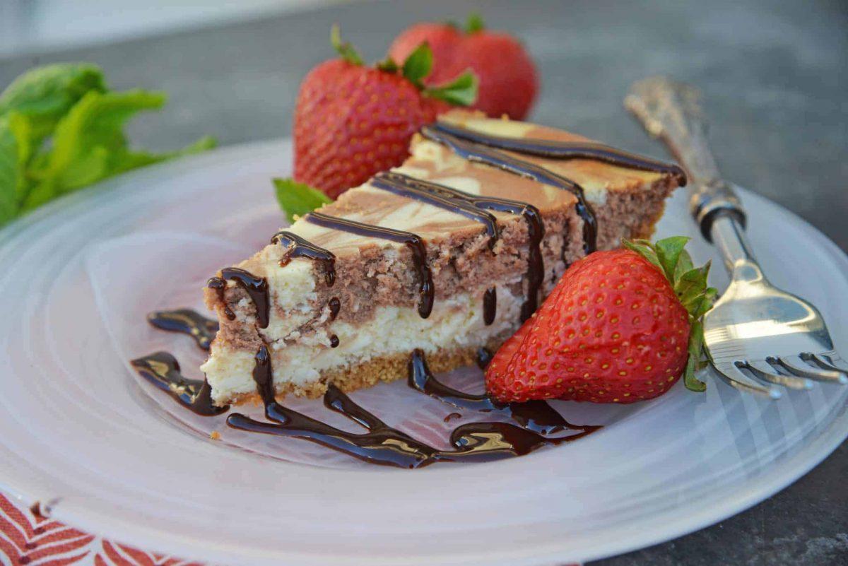 Slice of Marble New York Cheesecake