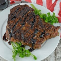 Copycat Capital Grille Porcini Rubbed Delmonico is the perfect home date night dinner. An easy recipe filled with robust steak flavors and sweet balsamic reduction sauce.