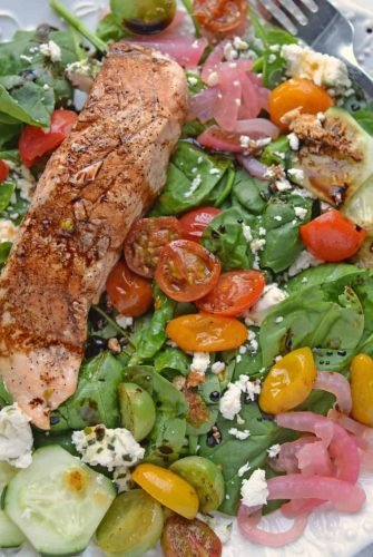Overhead of Balsamic Salmon Salad on a white plate