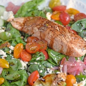 Side Angle of Balsamic Salmon Salad