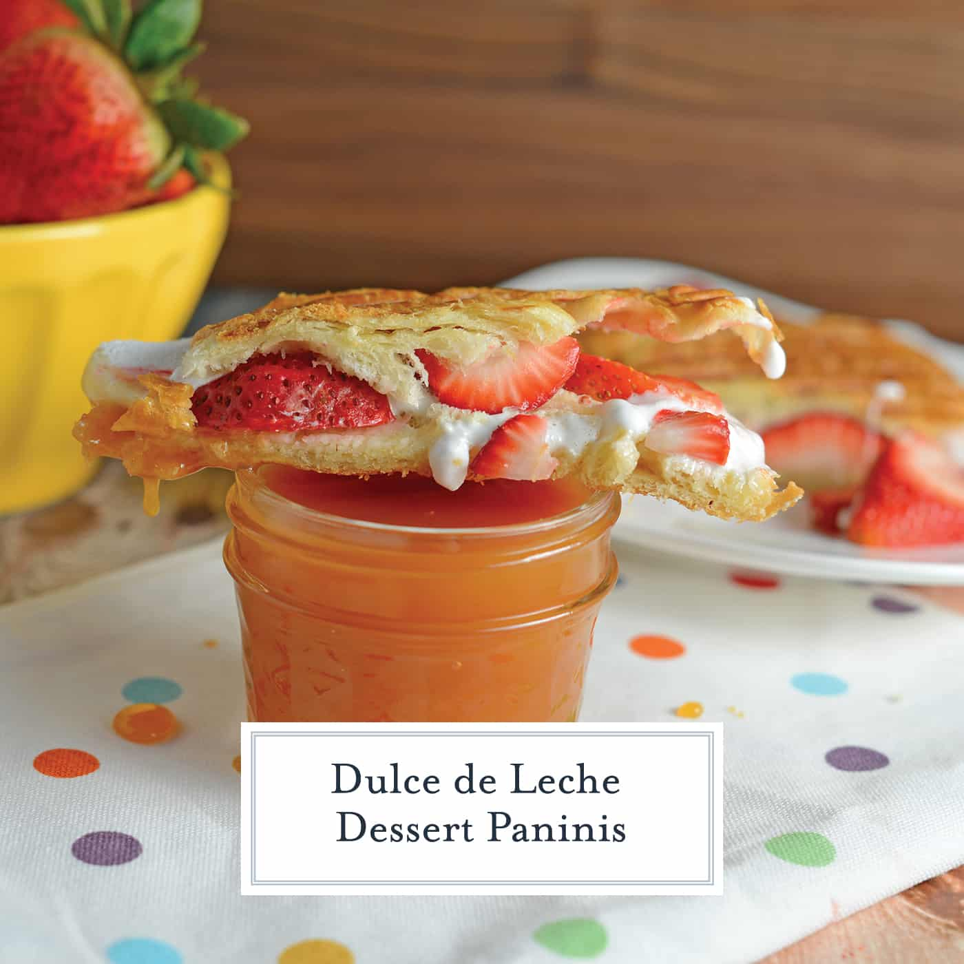 Dulce de Leche Dessert Panini is made up of layers of decadent dulce de leche, gooey marshmallow, and freshly sliced berries all in a buttery croissant! #dessertrecipes #dessertsandwich #dessertswithdulcedeleche www.savoryexperiments.com