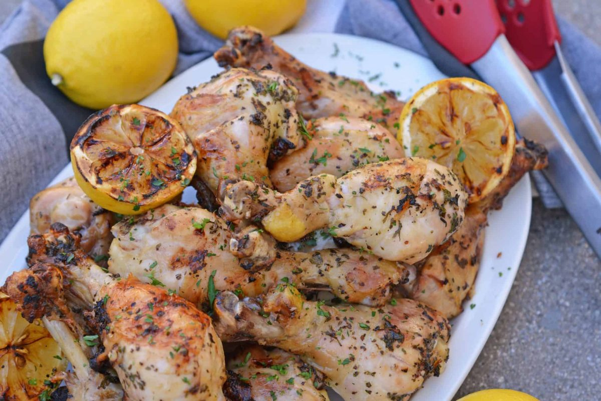 Grilled Lemon Pepper Chicken on a white tray