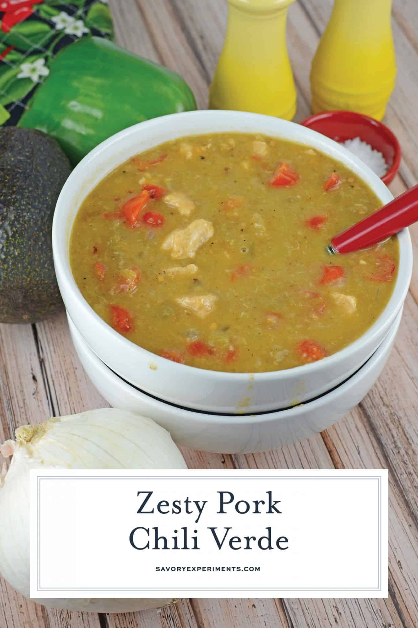 Pork Chili Verde is a wonderful mixture made up of green chilis, tomatoes and spices, best served over giant burritos, eggs, refried beans or in tacos. #porkchilieverde #chiliverderecipe www.savoryexperiments.com
