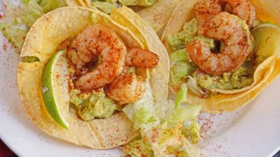 Chile dusted shrimp in tostada cups