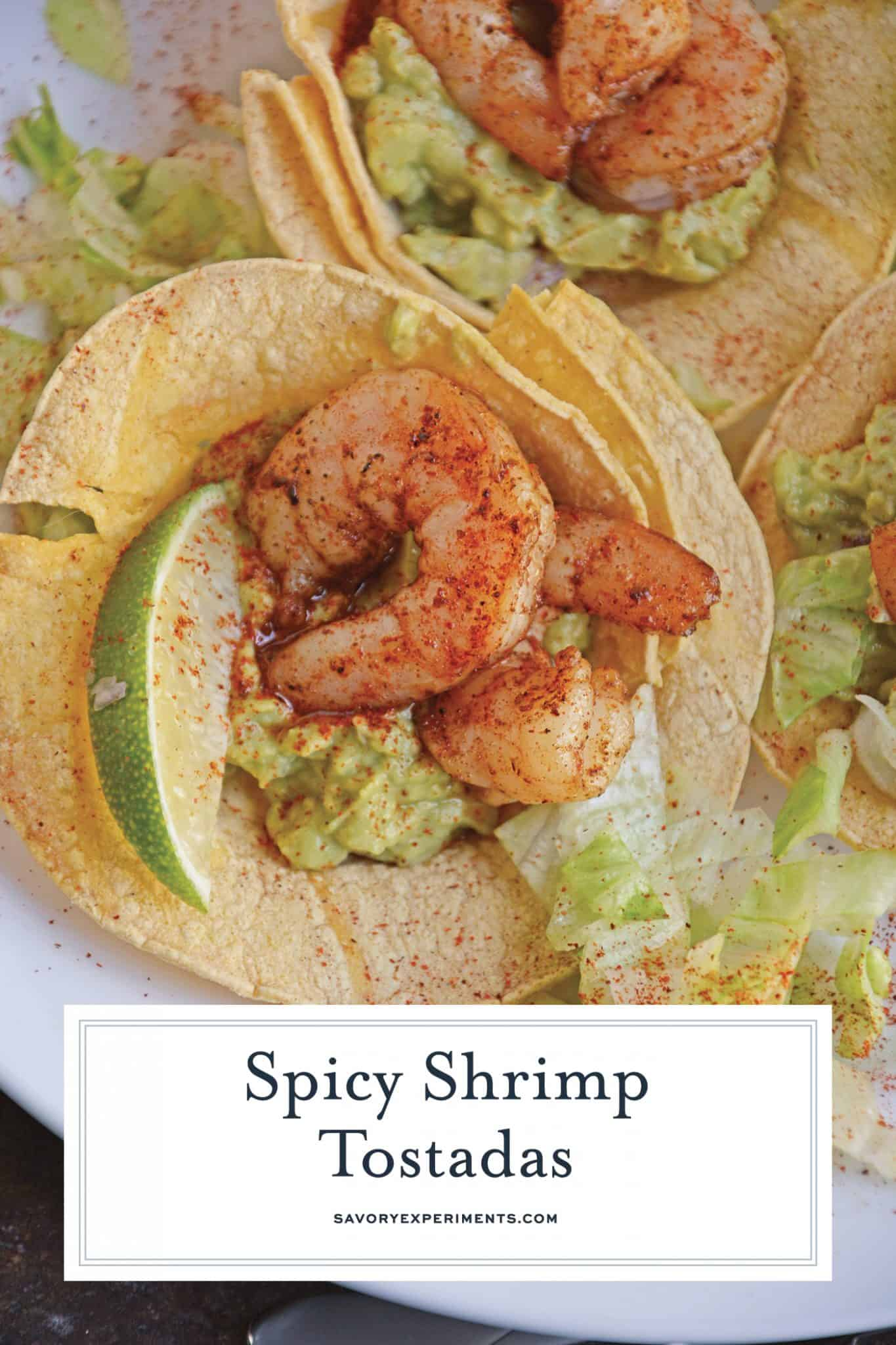 Shrimp Tostada with limes and guacamole