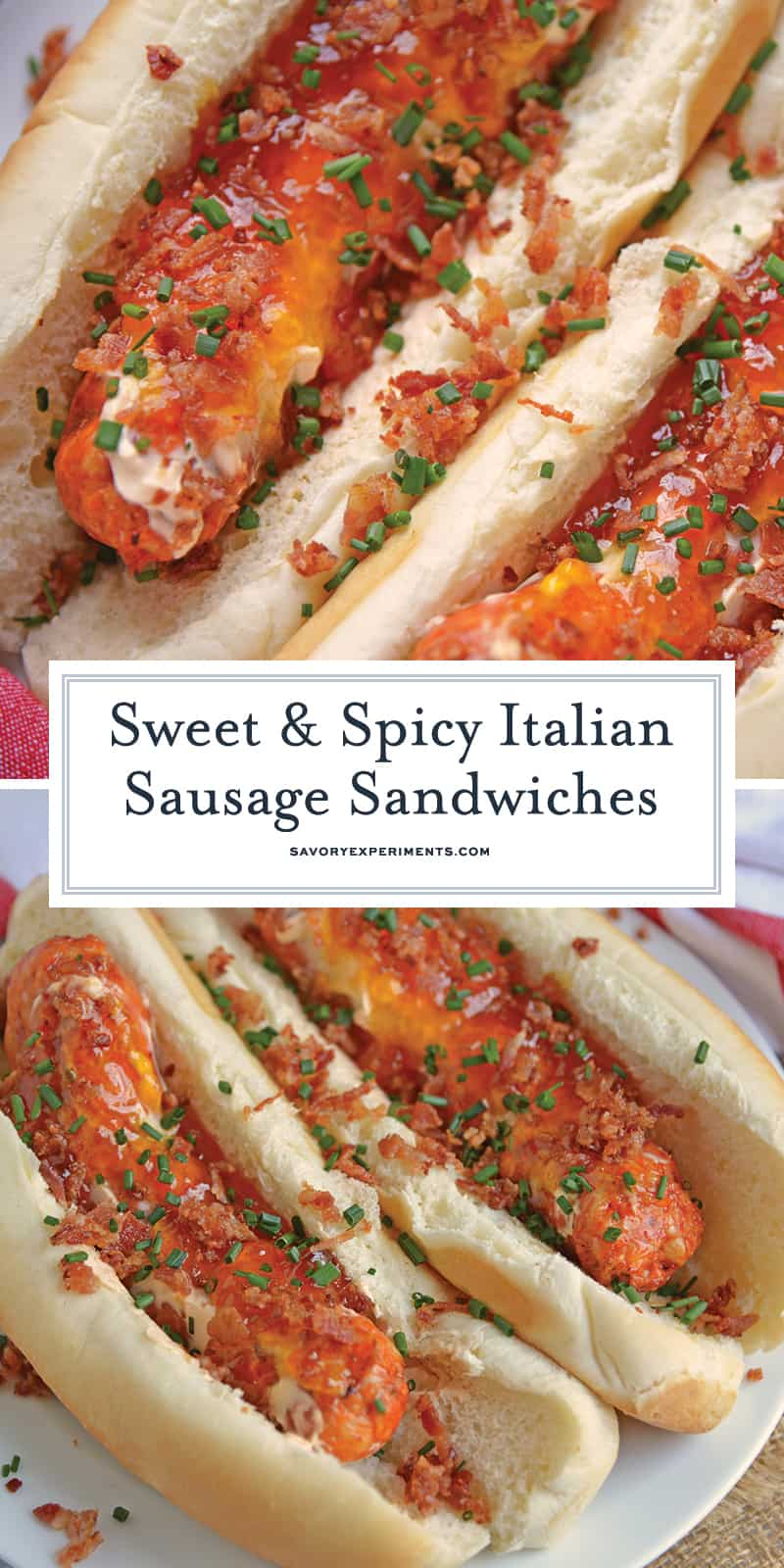 Sweet and Spicy Italian Sausage Sandwiches combine spicy Italian sausage with hot sauce spiked cream cheese with sweet apricot jam, salty bacon and chives. #sausagesandwiches www.savoryexperiments.com