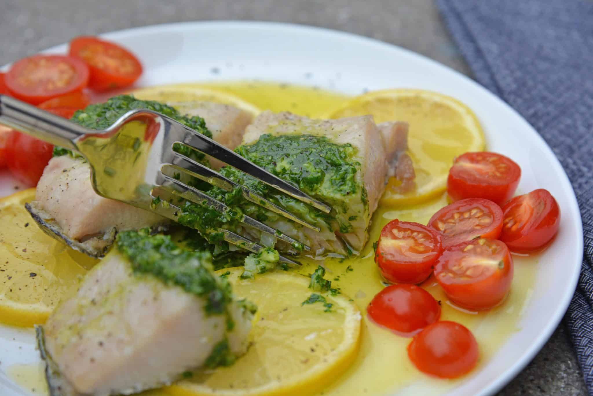 Chimichurri Lemon Mahi Mahi is a deliciously light & flaky mahi mahi recipe! This baked mahi mahi is a easy & simple seafood dish to prepare in 20 minutes! #mahimahirecipes #whatismahimahi #bakedmahimahi www.savoryexperiments.com