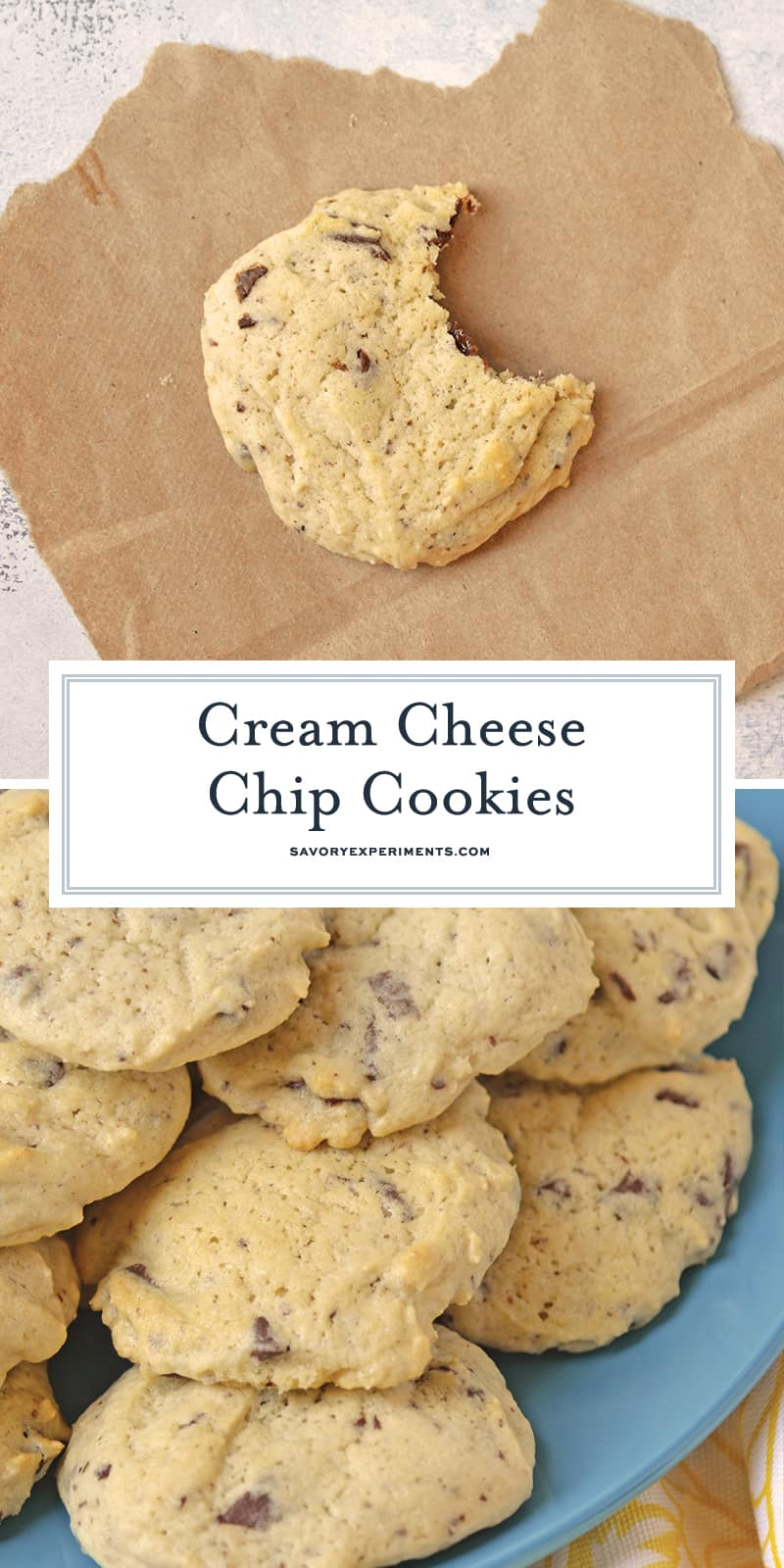 Cream Cheese Chocolate Chunk Cookies are a soft chocolate chip cookie recipe using rich cream cheese and rustic chunky chocolate.. #chocolatechipcookies #bestcookierecipe #softchocolatechipcookies www.savoryexperiments.com