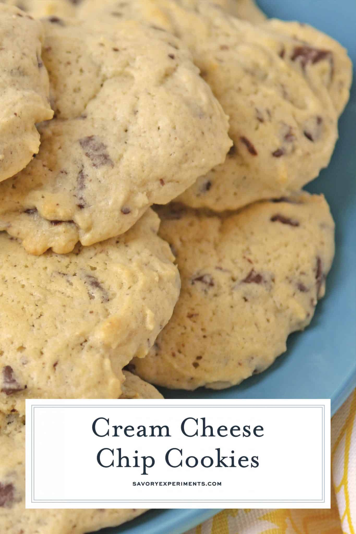 Close up of cream cheese chocolate chip cookies