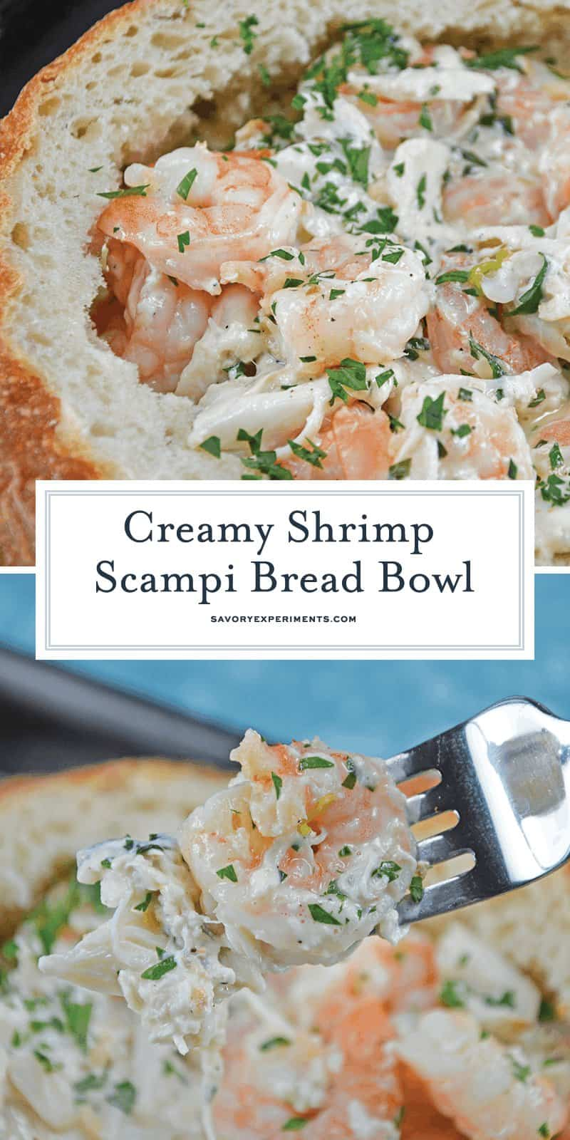 This Creamy Shrimp Scampi Bread Bowl can be an easy appetizer or entree, dipping bread in the rich scampi sauce with succulent shrimp. #shrimpscampi #shrimpappetizer www.savoryexperiments.com