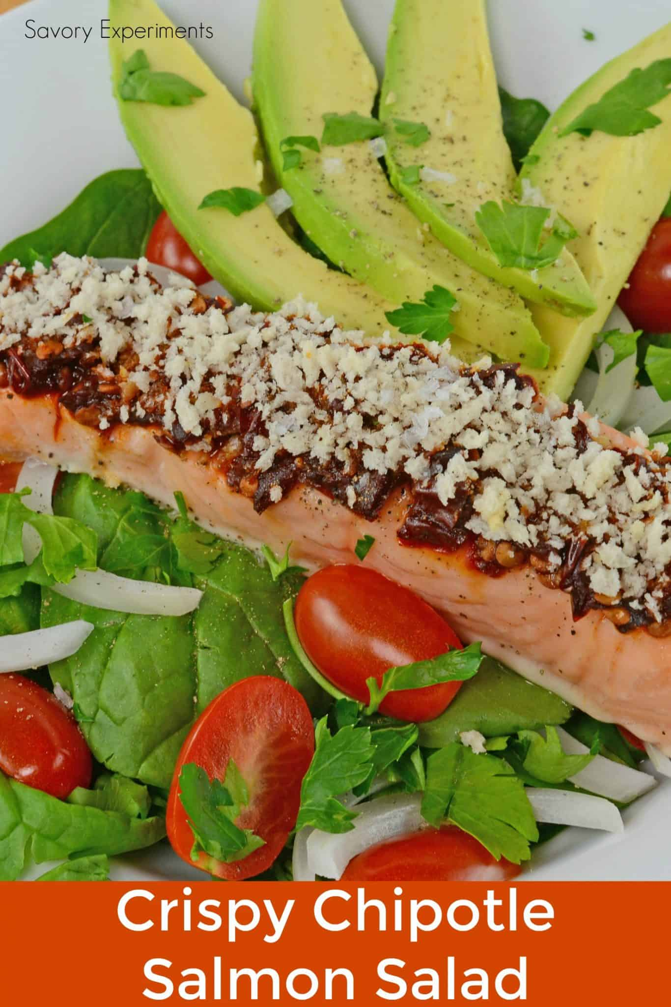 Crispy Chipotle Salmon Salad is a simple and healthy salad filled with fun texture and spicy flavor!