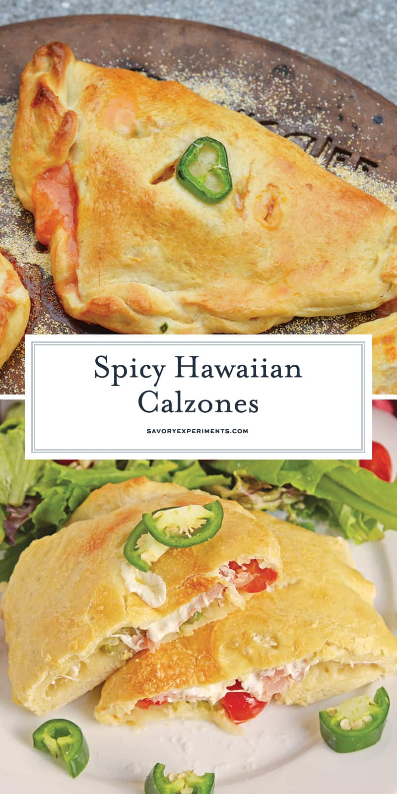 Spicy Hawaiian Calzones have become a favorite lately in this household! This is a easy calzone recipe just like your favorite Hawaiian Pizza with ham, pineapple and jalapenos! #hawaiianpizza #hawaiianfood www.savoryexperiments.com