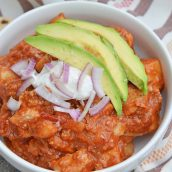 Spicy Pork and Potato Stew uses tender pork cuts and potato simmered in Middle Eastern spices and tomato sauce. Chipotle chiles in adobo sauce and chorizo bring loads of flavor. #porkstew #onepotmeals www.savoryexperiments.com