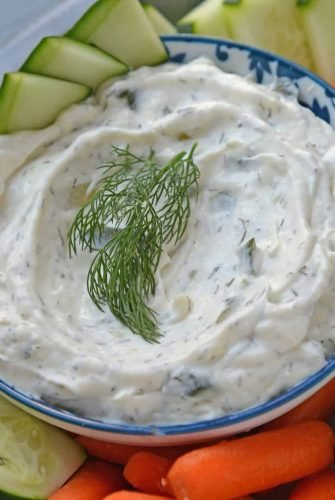 Close up of Garlic Tzatziki Sauce