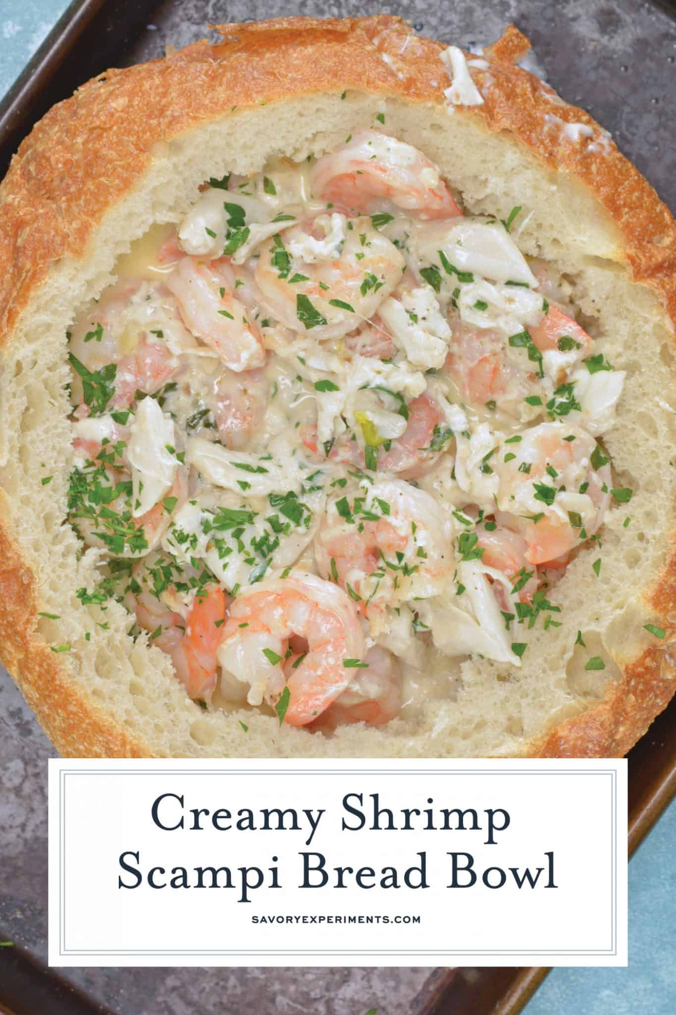 Overhead of creamy shrimp scampi in a bread bowl
