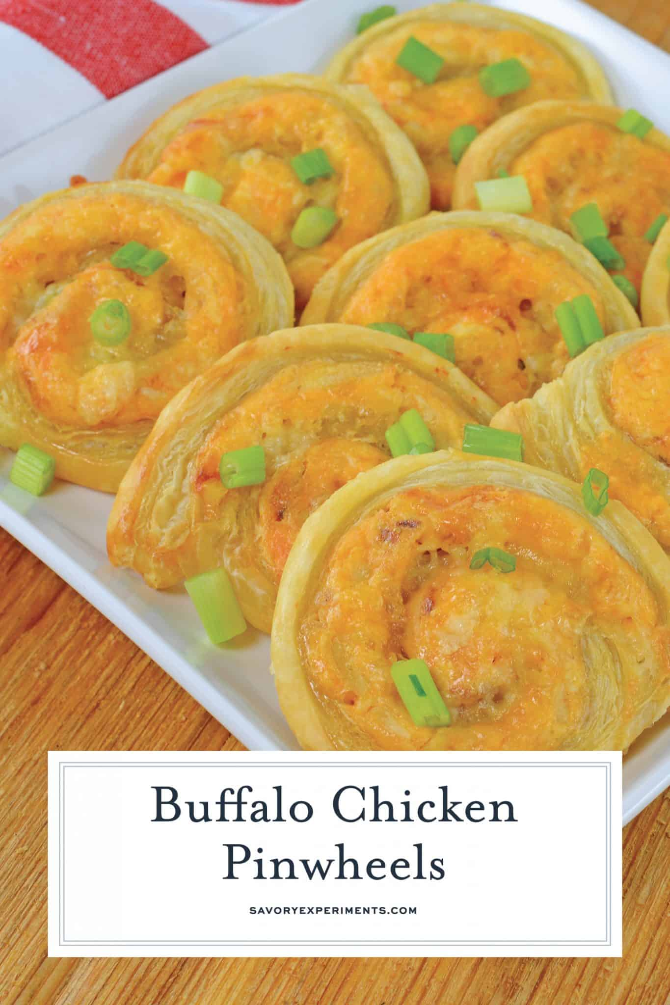 Buffalo Chicken Pinwheels are creamy, spicy buffalo dip rolled in buttery puff pastry and baked to a crispy perfection. The perfect appetizer for any event! #buffalochickendiprecipe #buffalochickenpinwheels www.savoryexperiments.com