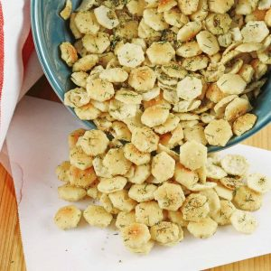Dill Seasoned Oyster Crackers are the perfect snack, soup topper or salad crouton! They add an extra touch to any dish and are so easy to make and store! #dillseasonedoystercrackers #dilloystercrackers www.savoryexperiments.com