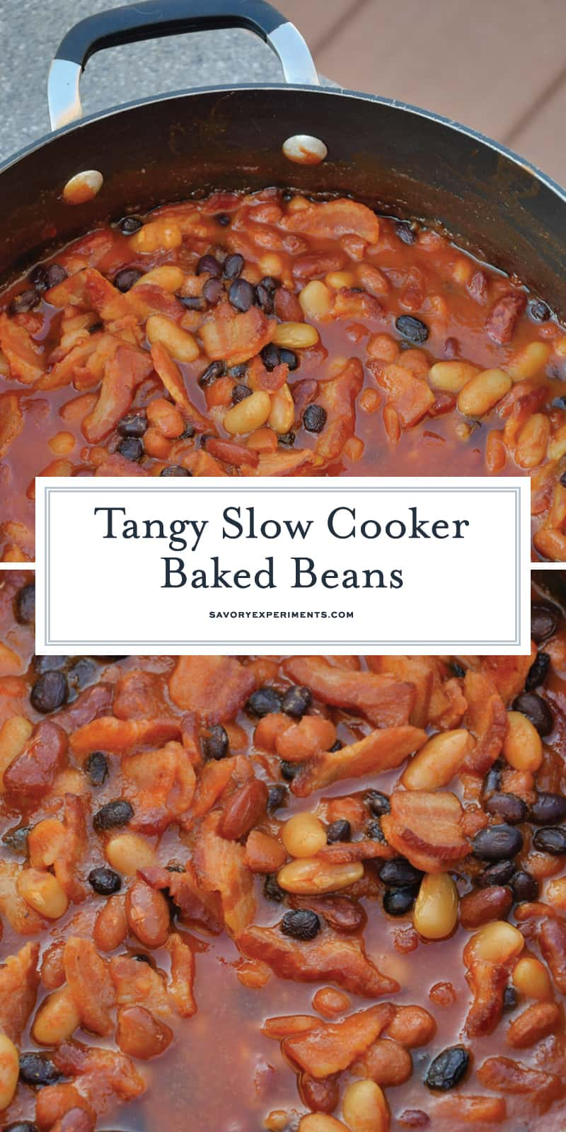 Slow Cooker Baked Beans is made with 4 types of beans simmered with brown sugar, bacon, and more! An Easy Baked Bean recipe the whole family will love. #bakedbeansrecipe #homemadebakedbeans #crockpotbakedbeans www.savoryexperiments.com
