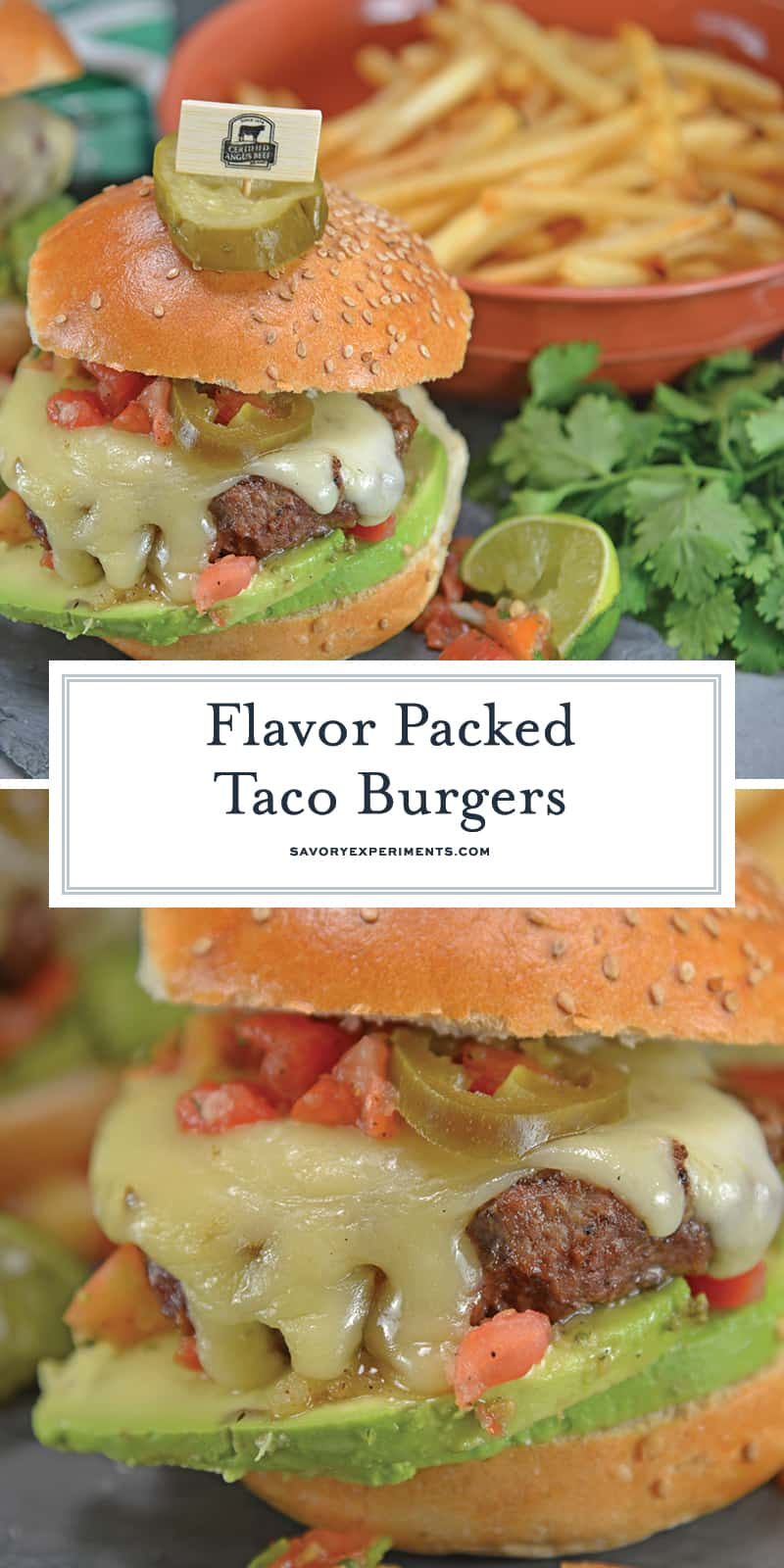 Taco Burgers are a spicy mix of tacos and burgers! Topped with pico de gallo, avocado slices, jalapenos, pepper jack cheese and cool sour cream. #gourmethamburgers #tacohamburger www.savoryexperiments.com