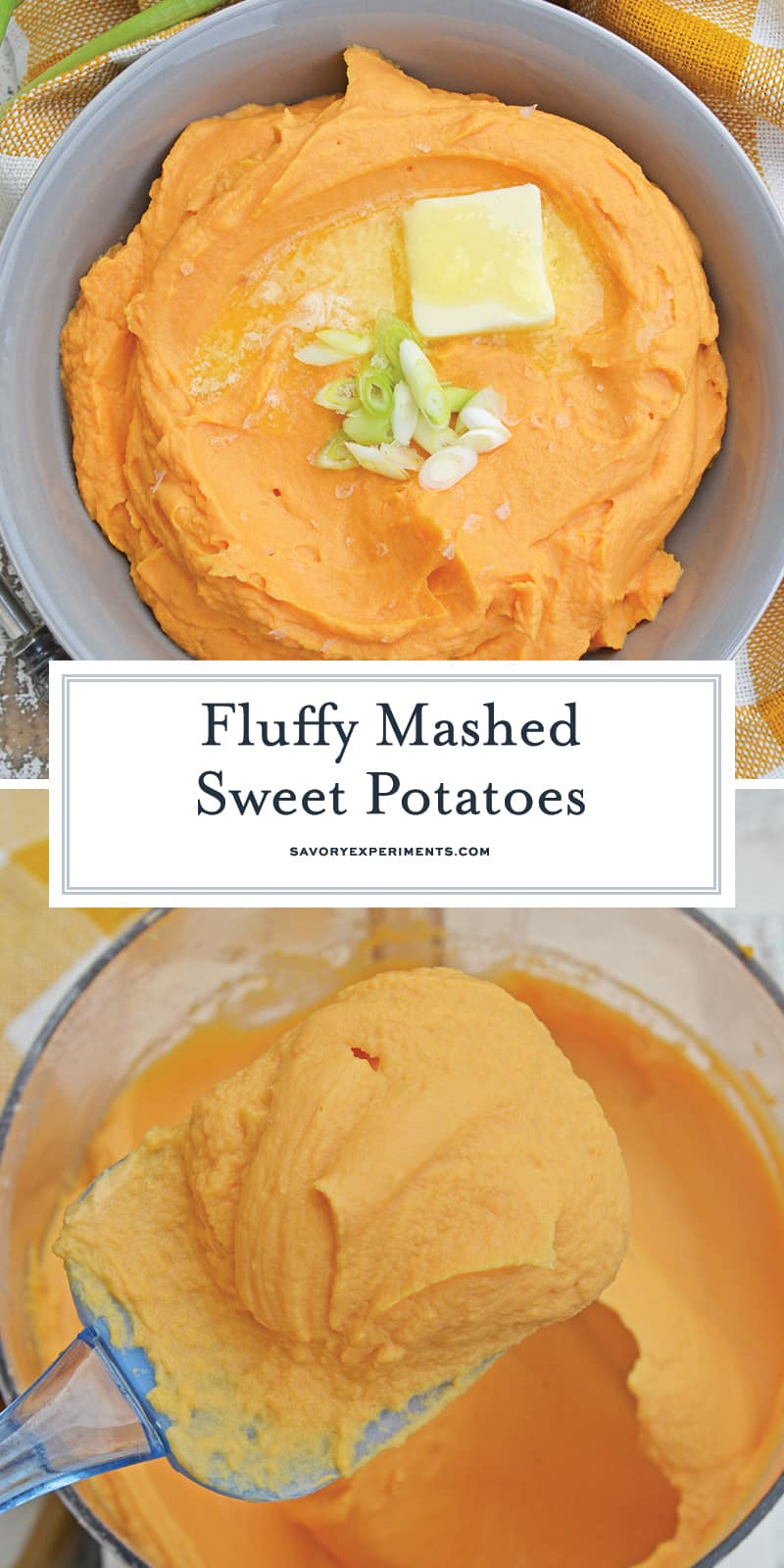 This Mashed Sweet Potatoes recipe uses baked sweet potatoes with natural sugars, bay leaf infused cream and a spike of orange juice for the best sweet potato mash ever! #sweetpotatomash #mashedsweetpotatoes www.savoryexperiments.com
