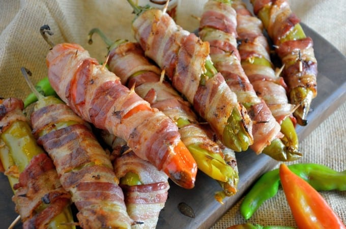 Bacon Wrapped BBQ Chicken Stuffed Chile Peppers