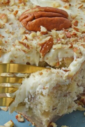 Super moist Banana Cake is a great way to use ripe bananas. Mix it with walnuts and top with a cream cheese frosting for a fabulous breakfast cake or fruity dessert.#bananacake www.savoryexperiments.com