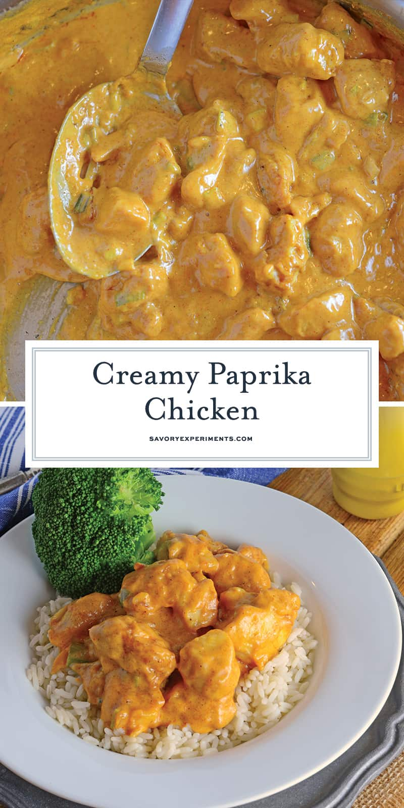 Creamy Paprika Chicken is a flavorful and easy family dinner. Crispy chicken in a creamy paprika sauce with garlic and scallions. #easychickenrecipes #paprikachicken www.savoryexperiments.com