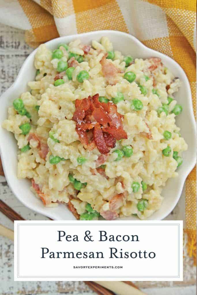 Creamy Parmesan Risotto takes the most traditional risotto recipe and adds vibrant peas and crispy bacon. Sauteed in bacon fat, this rice packs a flavor punch! #parmesanrisottorecipe #easyrisottorecipe www.savoryexperiments.com