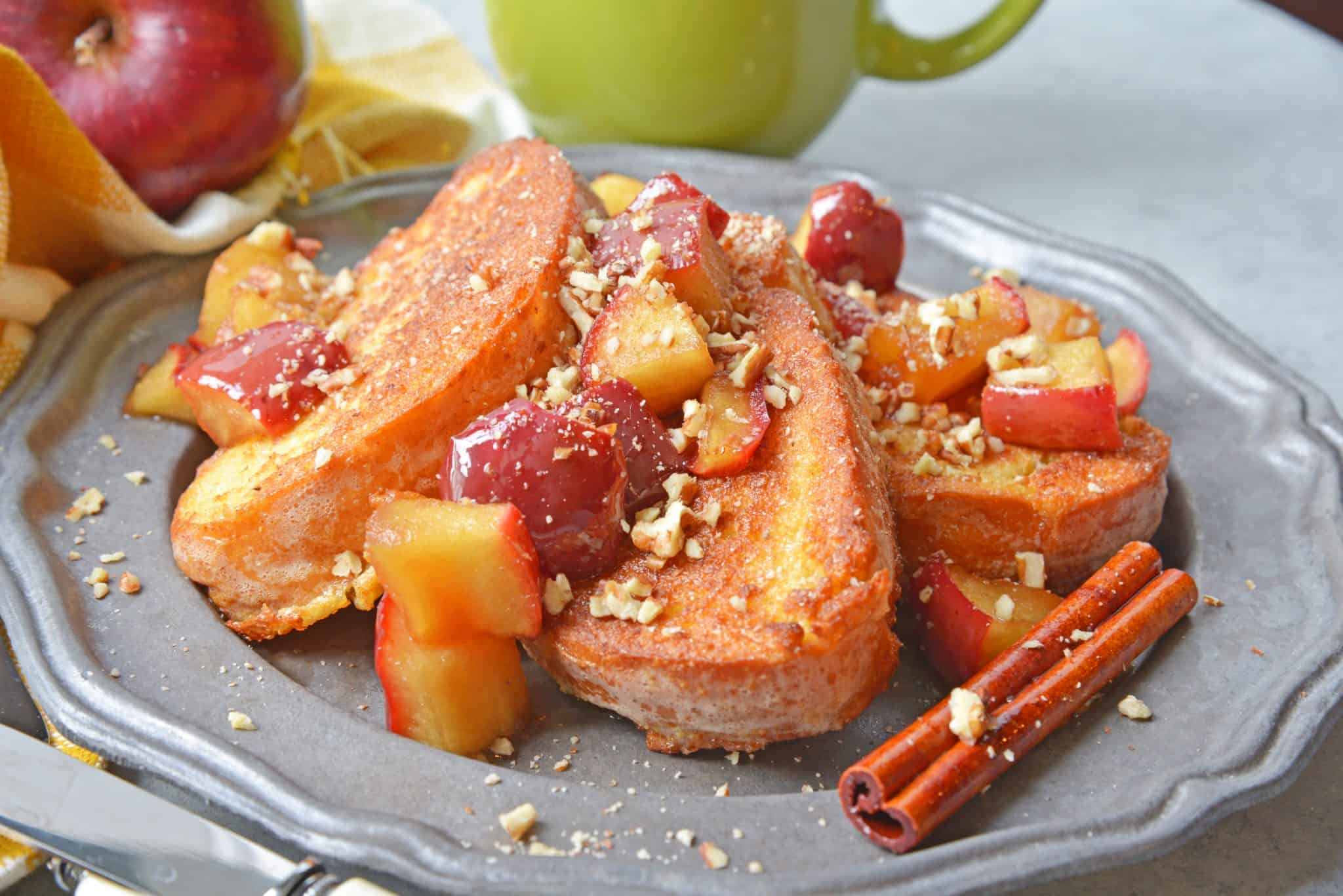 apple cinnamon french toast on a metal plate