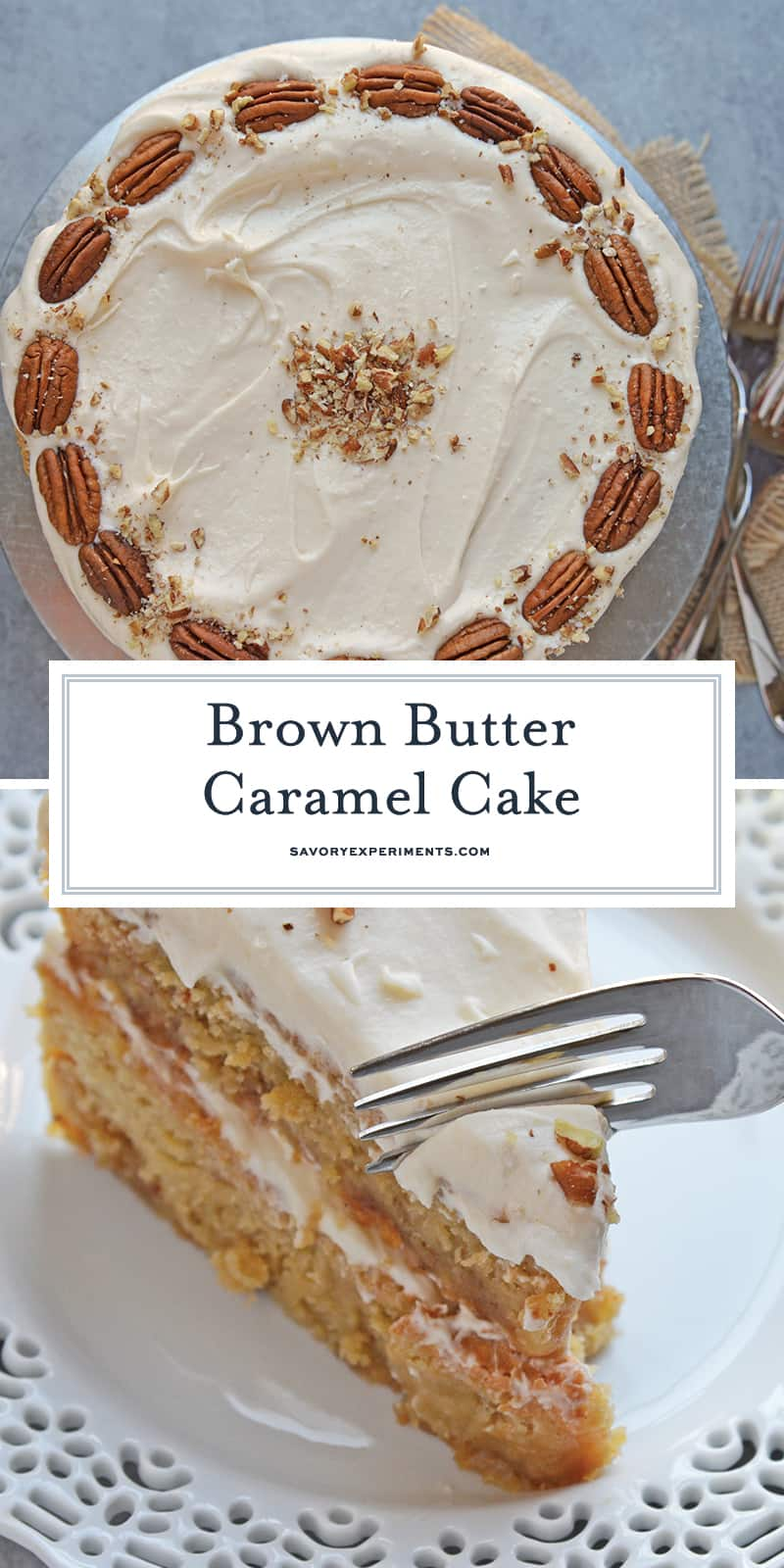 Brown Butter Caramel Cake is a two layer naked cake made with toffee bits and salted caramel frosting! The perfect summer cake or show stopping centerpiece. #caramelcake #brownbuttercake #nakedcakes www.savoryexperiments.com