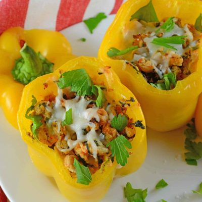 Turkey Stuffed Peppers are filled with spinach, onion, garlic, white beans and cheese. An easy and healthy dinner idea.