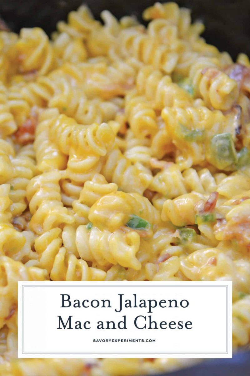Slow Cooker Jalapeno Bacon Mac and Cheese is the BEST mac and cheese recipe made in the slow cooker with gouda, cheddar bacon and jalapenos! #macandcheeserecipe #slowcookermacandcheese www.savoryexperiments.com