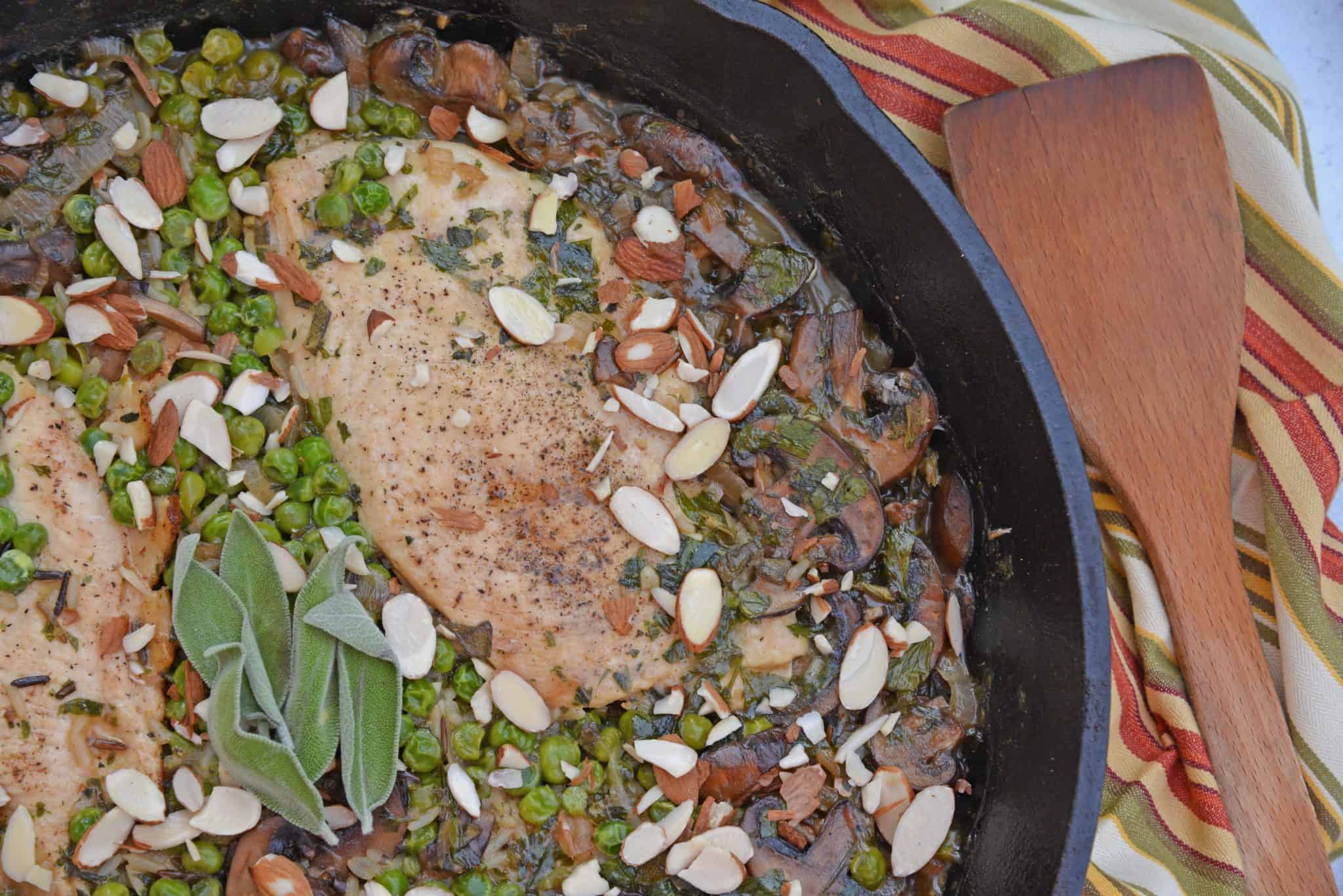 Mushroom Chicken and Rice Skillet is an easy one dish meal with loads of flavor like peas, mushrooms, shallots, sage and garlic.