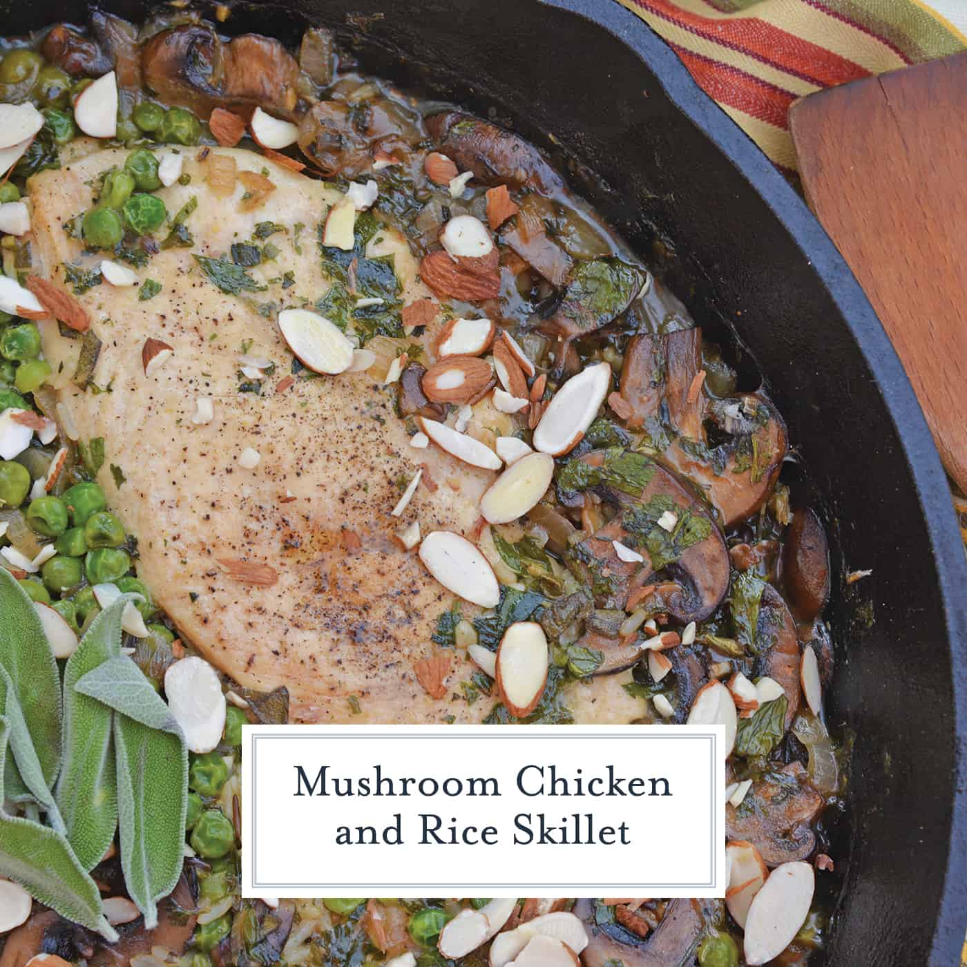 Mushroom Chicken and Rice Skillet is an easy one dish meal with loads of flavor like peas, mushrooms, shallots, sage and garlic. #onedishmeal #skilletmeal www.savoryexperiments.com