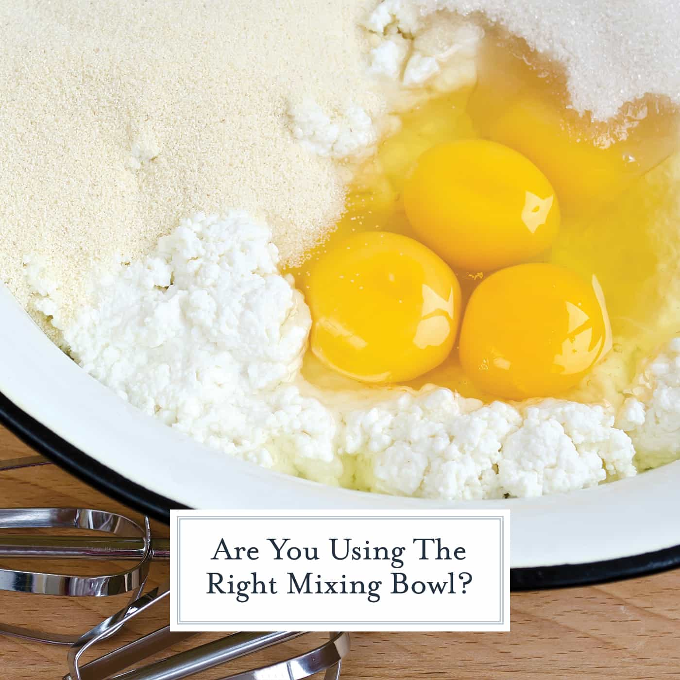 Are you using the wrong mixing bowl for the job? This basic tutorial will tell you which type of mixing bowl to use when: non-metallic for acids, no glass for egg whites and more! #mixingbowls www.savoryexperiments.com